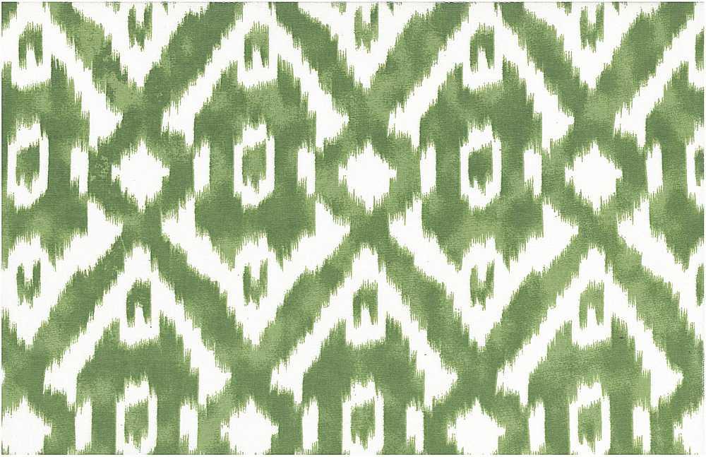 0990/6 / LEAF/WHITE / NEW CARAVAN IKAT PRINT
