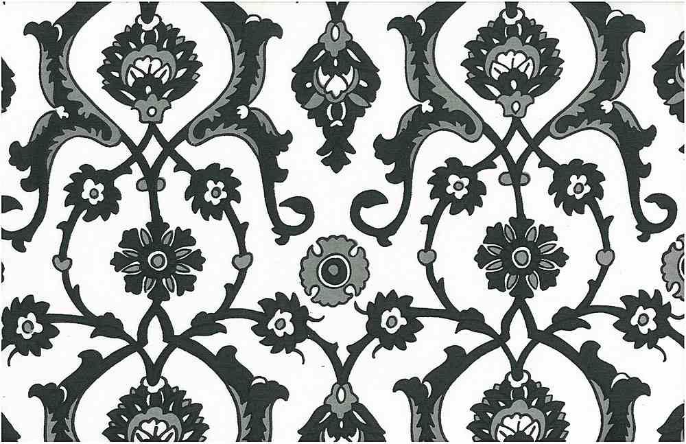 0903/1 / JET/WHITE / TURKISH TILE PRINT