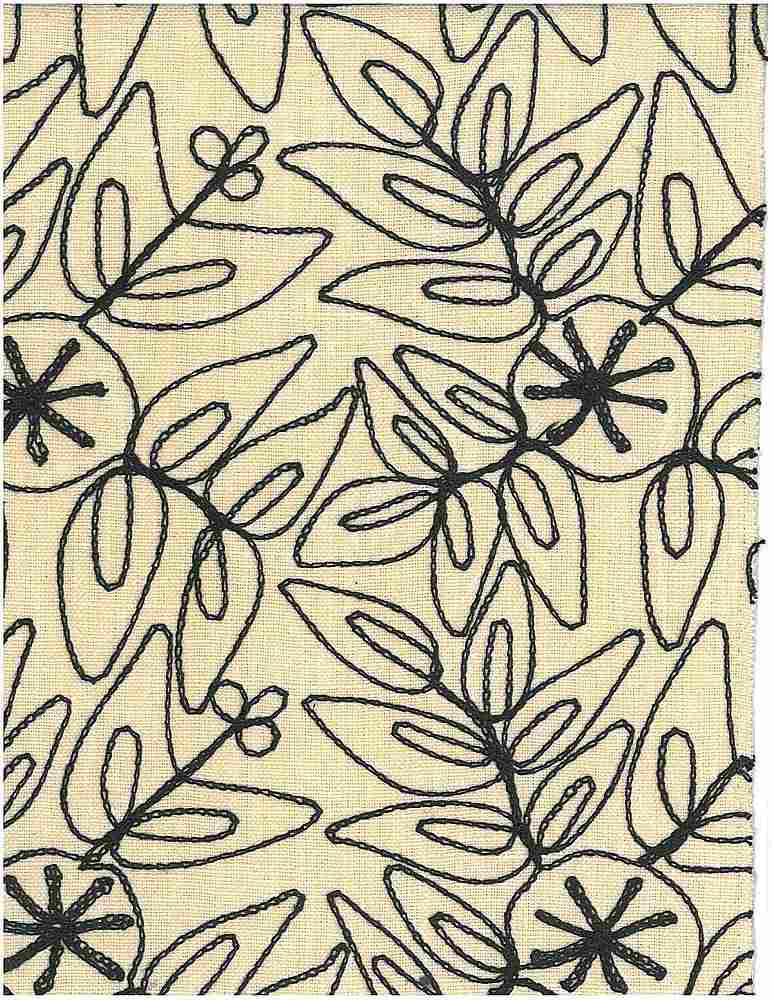 7123/2 / BLACK ON NAT / LEAFY MODERN EMBROIDERED HOMESPUN-