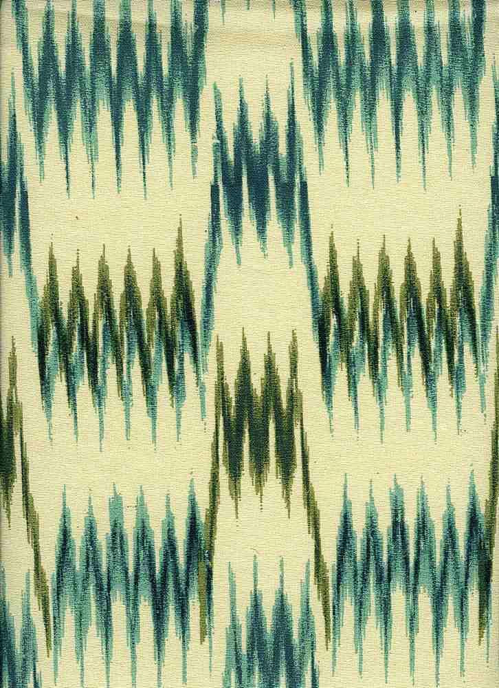 0991/3 / TURQ/OLIVE / NEW SPIRE IKAT PRINT