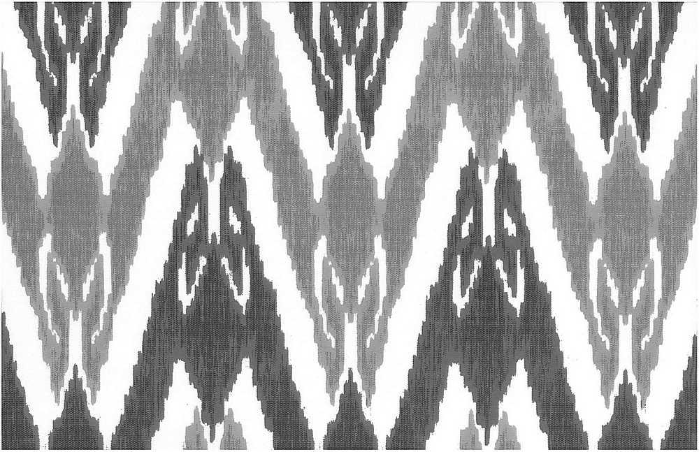 0998/4 / CHARCOAL/FLAX/WHITE / NEW UZBEK IKAT PRINT