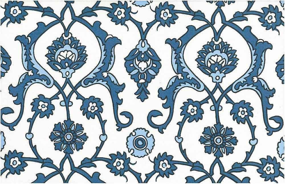 0903/2 / TURKISH TILE PRINT / ANTIQUE BLUES/WHITE