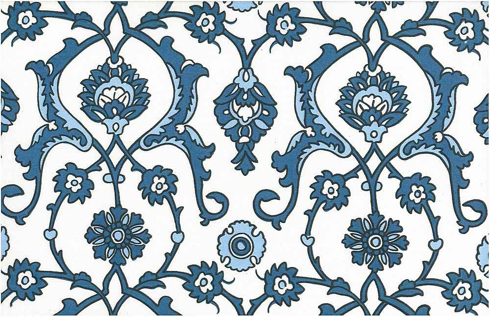 0903/2 / TURKISH TILE PRINT / ANTIQUE BLUES/WHITE