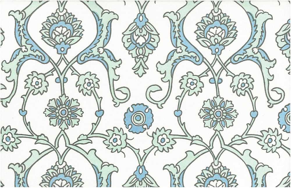 <h2>0903/5</h2> / TURKISH TILE PRINT / SEAGLASS/WHITE