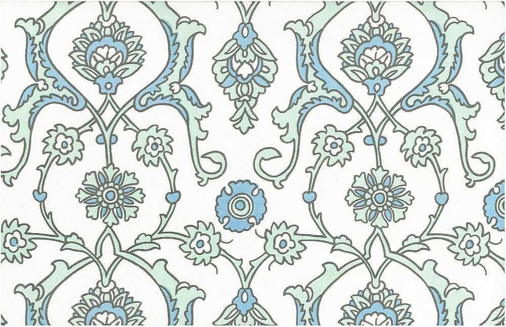0903/5 / TURKISH TILE PRINT / SEAGLASS/WHITE