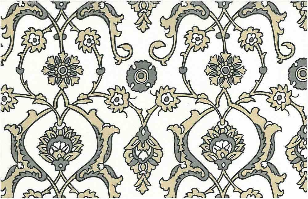 0903/3 / TURKISH TILE PRINT / STONE/WHITE
