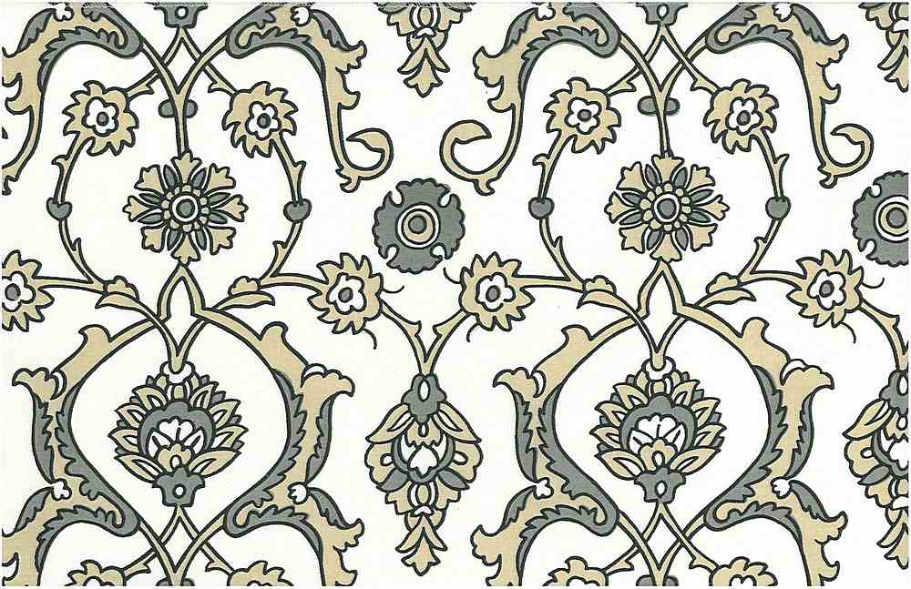 0903/3 / TURKISH TILE PRINT / STONE/WHITE