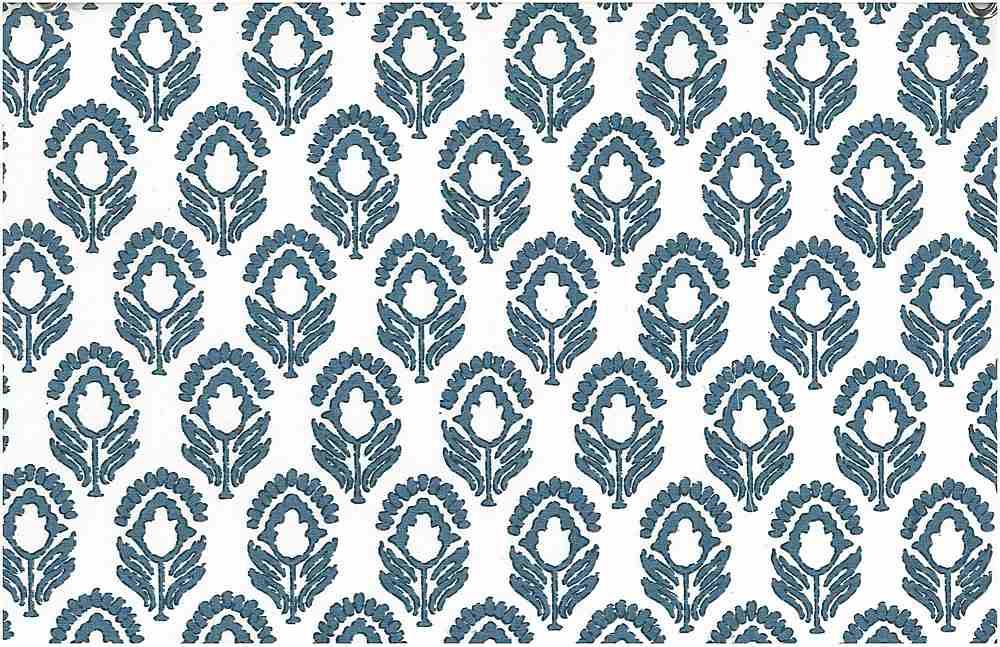 9202/1 / JASMINE PRINT / TILE BLUE/WHITE