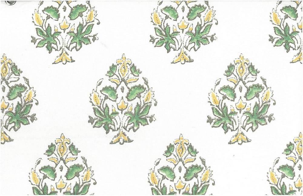 9203/3 / MUMTAZ PRINT  / SPRING GREEN/WHITE