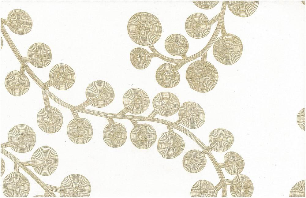 0924/4 / SPIRAL BRANCH PRINT / GOLD ON WHITE