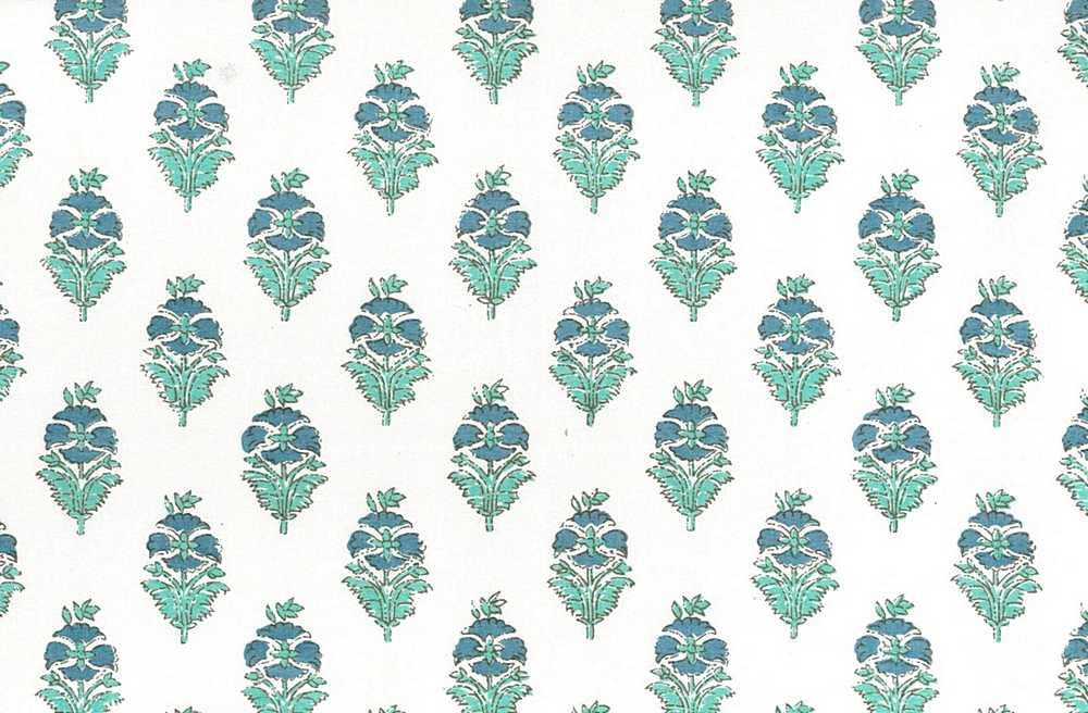 9212/2 / POPPY PRINT / BLUE AQUA/WHITE