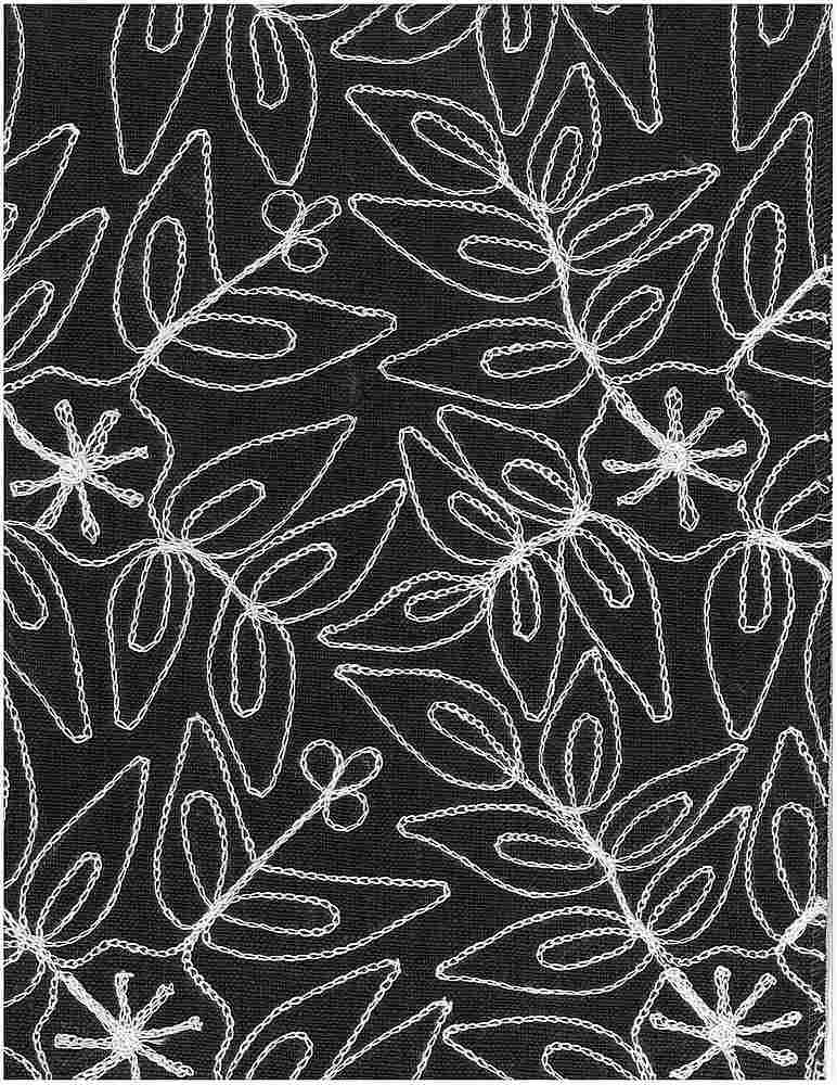 7123/3 / LEAFY MODERN EMBROIDERED HOMESPUN- / NAT ON ONYX