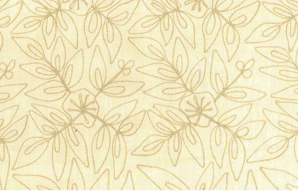 7123/4 / LEAFY MODERN EMBROIDERED HOMESPUN- / SAND ON MILK