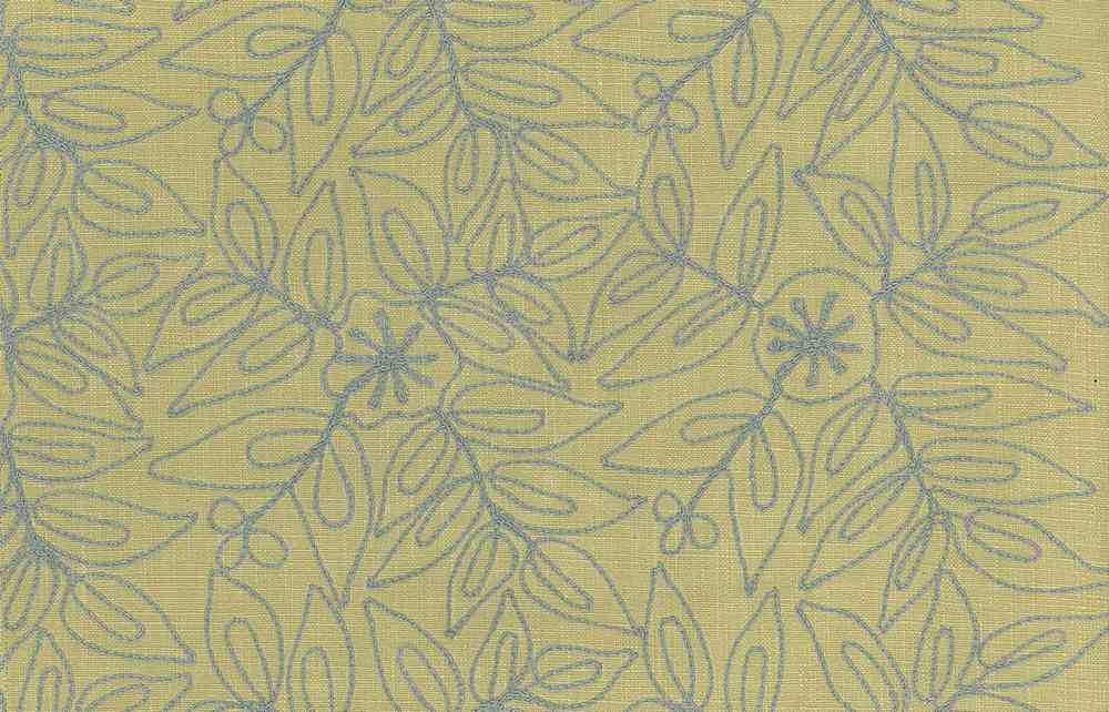 7123/5 / LEAFY MODERN EMBROIDERED HOMESPUN- / SPA ON CELERY
