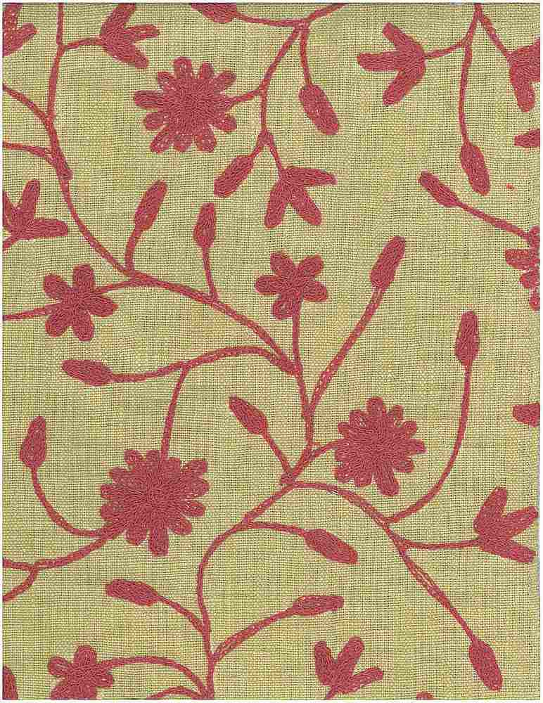 7124/6 / DUCHESS VINE EMBROIDERED HOMESPUN- / ROSE ON CELERY