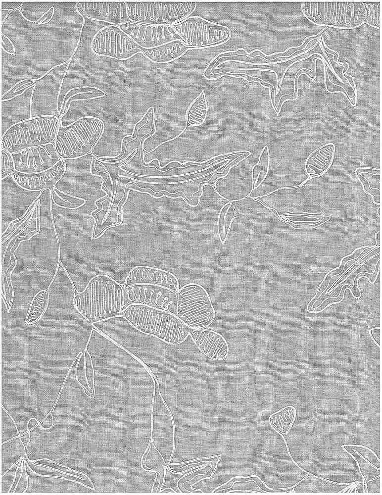 4107/1 / ANEMONE VINE EMBROIDERY / WHITE ON FLAX