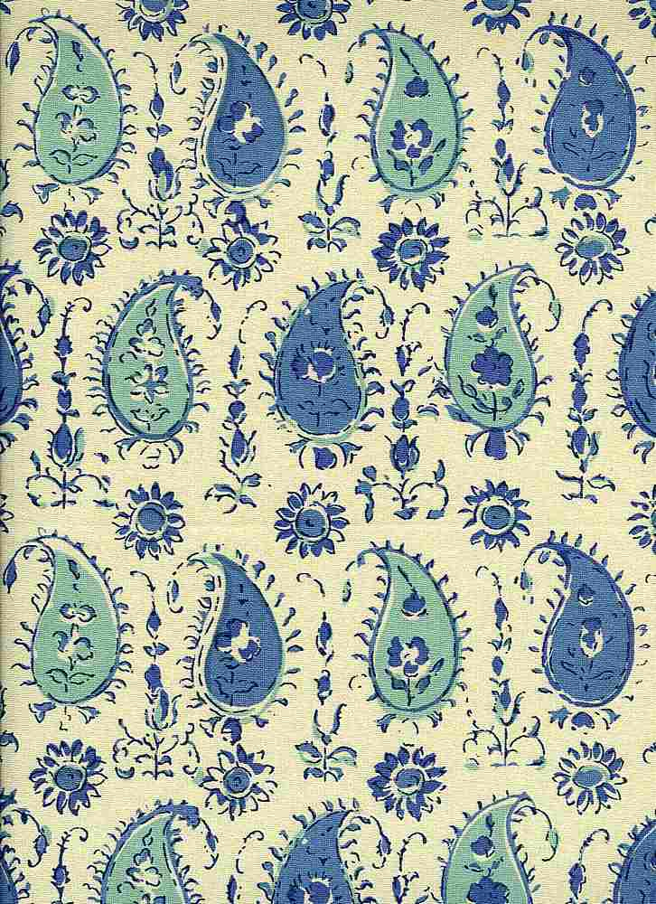 <h2>0961/1</h2> / PERSIAN PAISLEY HANDPRINT / BLUE/AQUA