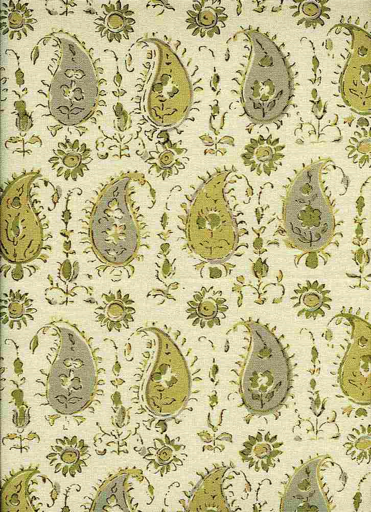 <h2>0961/4</h2> / PERSIAN PAISLEY HANDPRINT / HONEY/DOVE