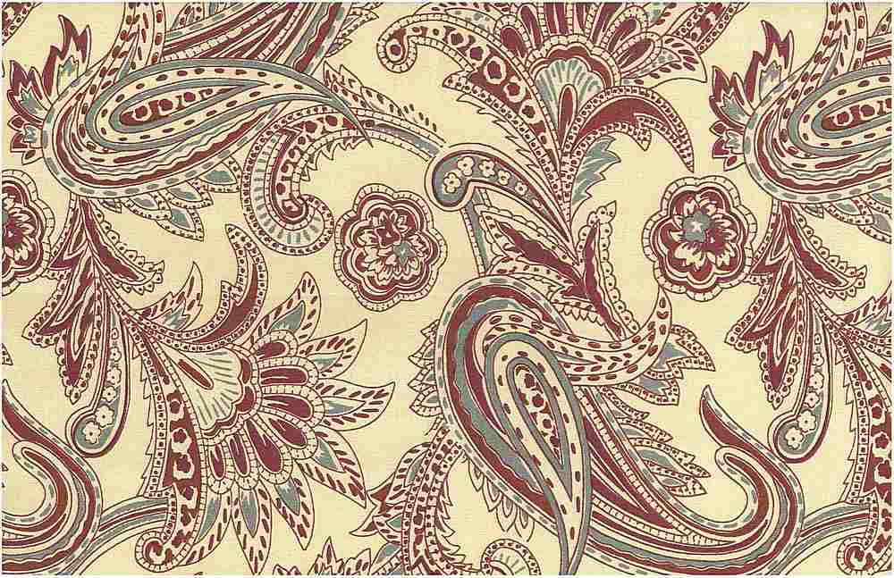 0966/5 / FRENCH PAISLEY PRINT / RICH REDS