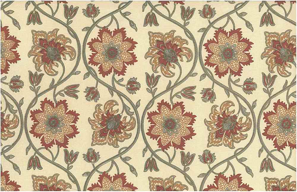 0970/2 / ELLORA PRINT / MINERAL RED/TAUPE