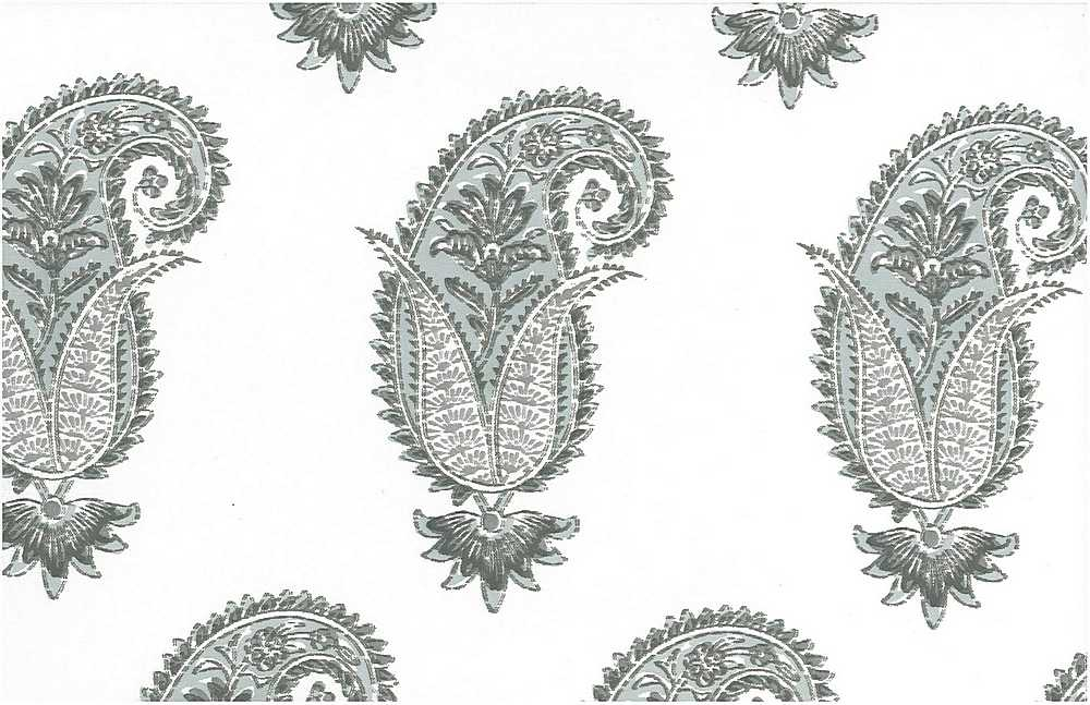 0996/1 / ANTIQUE PAISLEY PRINT / WATER/WHITE
