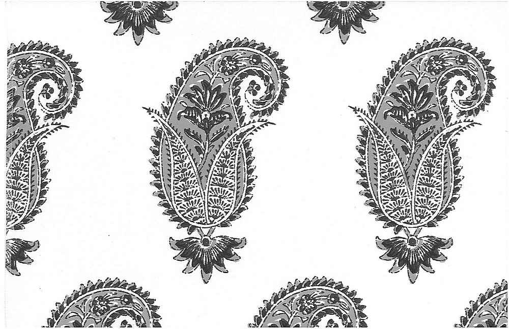 0996/4 / ANTIQUE PAISLEY PRINT  / SMOKE/WHITE