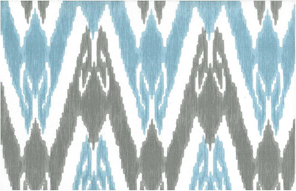 0998/1 / NEW UZBEK IKAT PRINT / WATER/SILVER/WHITE